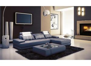 5005A Mini Modern Grey and White Leather 2 Pc. Sectional